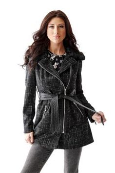 Faux-Fur Collar Tweed Trench Coat | GUESS.com