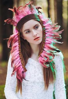 Pink Festival Feather headpiece