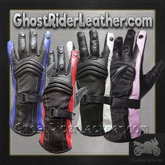 Ladies Leather Gauntlet Gloves in Red White or Blue / SKU GRL-GLZ60-DL