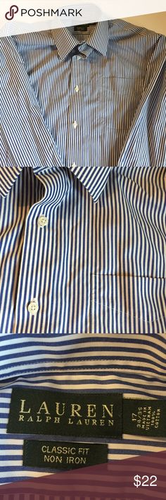 Ralph Lauren Mens Dress Shirt Men's button down dress shirt in striped blue and white. In great condition. Size 17 neck. 34/35 Lauren Ralph Lauren Shirts Dress Shirts