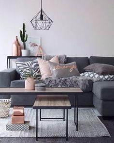 Para lograr este mood: GRIS + ROSA + METAL NEGRO. Checa nuestras mesas en madera y hierro y la lámpara Jaula.  #homedecor #alamedamx #decoración #instamood #instadaily