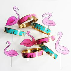 City Bangles by McKean Studio. Palm Springs City Bangles, in Hot Pink and Turquoise! www.mckeanstudio.com