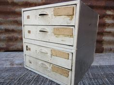 Industrial Metal Cabinet Drawers White Bin by TheOldTimeJunkShop
