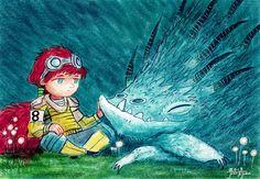 juanbjuan children illustration: Future girl and dragon