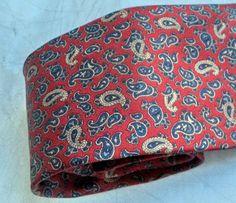 LANCEL Paris Skinny Necktie Silk 60s Classic Red by MushkaVintage3