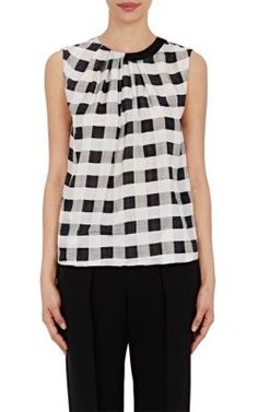 GIORGIO ARMANI Gingham Silk Top. #giorgioarmani #cloth #top