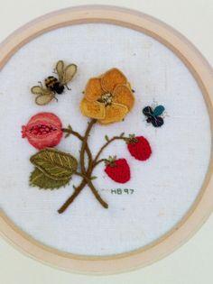 My stumpwork strawberry embroidery