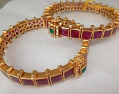 & Temple Pair of Bangles (Open Style Kada) in Silver and Gold Polish with Ruby' Traditional & Temple Pair of Bangles Open Style Kada in Gold Bangles Design, Gold Jewellery Design, Ruby Bangles, Silver Bracelets, Bangle Bracelets, Silver Jewellery Indian, Silver Jewelry, Silver Rings, Crystal Jewelry