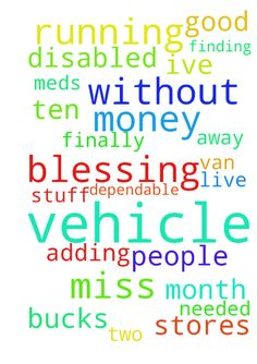 Vehicle blessing needed -  A prayer for me for a dependable running vehicle. I found myself without a vehicle for a month now.I have to run to stores and after meds for two disabled people that live ten miles away from me.. Ive been paying out 20 bucks here 25 here for rides to get there stuff.. Its adding up I miss and they miss me having a running vehicle.. I am finding out that Nice guys finish last in my world I pray for a good used car or truck or van I have some money but not alot. May…