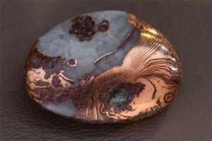 Pseudomorphose d'agate en cuivre natif