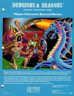 "oldschoolfrp: ""Battling a blue dragon (Jim Roslof, D&D Player Character Record Sheets, TSR, 1980) """
