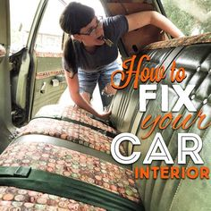 Car Upholstery repair - Cover your seats with fabric. Vinyl repair - How To Videos in the link http://www.pinupmerle.com/how-to-fix-your-car-interior/