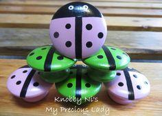 Ladybug Drawer Knob   Dresser Pull   Nail Cover - Hand Painted - Green Ladybug - Pink Ladybug - Children's Bedroom - Kids Room