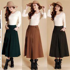 Online Shop freeship 2013 new arrival autumn fashion women's medium-long bust skirt winter woolen skirt a-line skirt laides half-skirt full Aliexpress Mobile