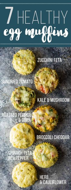 Enjoy these healthy breakfast egg muffins for breakfast on the go, or even for a healthy snack! With 7 different flavors, you will never get bored. Stock your freezer so you always have healthy opti(Fitness Recipes Breakfast)