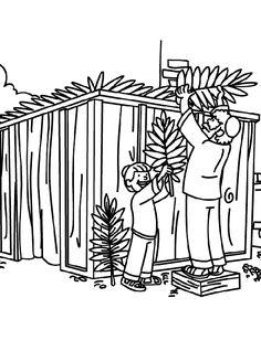 Building a Sukkah coloring page