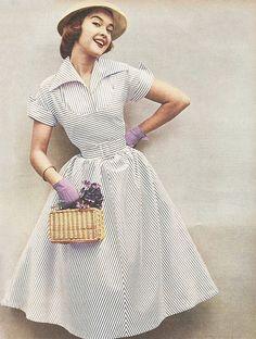 1950s stripe dress   From The Australian Women's Weekly, 12 November 1952
