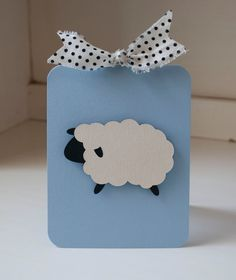 Lamb Sheep Boy Baby Shower Baby Blue and Black White Polka Dots VIntage by CardinalBoutique on Etsy