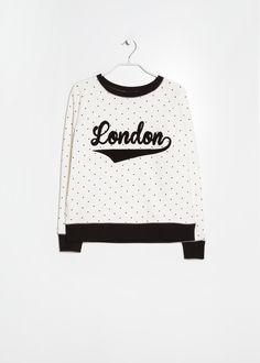 Mango Embroidered polka-dot sweatshirt (S)