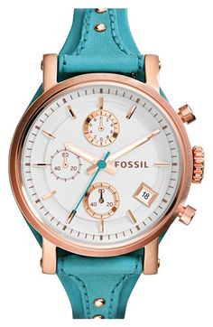 So pretty! Fossil 'Original Boyfriend' Chronograph Leather Strap Watch, 38mm+available+at+#Nordstrom