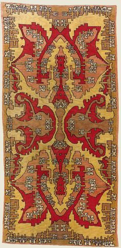 "Galerie Deroyan, carpets, rug and tapestries Amsterdam school carpet  Netherlands 20th century (c. 1900) Needlepoint Wool and cotton 8'6"" x 4'3"""