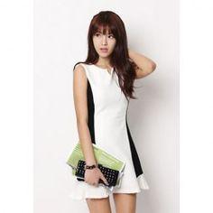 Elegant V-Neck Splicing Blocking Color Beam Waist Party Dress For Women