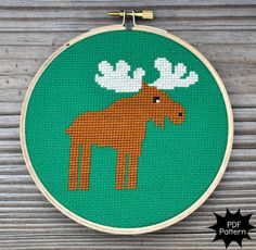 A better moose for Gluteus Maximoose for Kristin: Moose Cross Stitch Chart by Sewingseed on Etsy, $4.00
