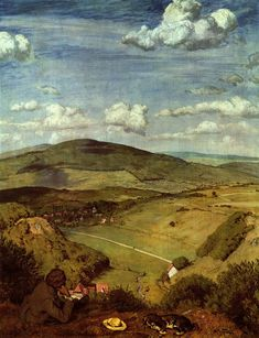 Hans Thoma [German Symbolist Painter, Guide to pictures of works by Hans Thoma in art museum sites and image archives worldwide. Land Art, Hans Thoma, Gustave Courbet, Picture Boxes, Country Scenes, Sculpture, Renaissance Art, Landscape Paintings, Landscapes