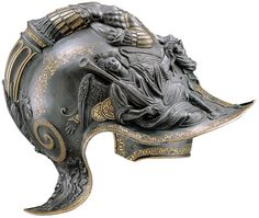 Filippo and Francesco Negroli, Italian, c. 1510–1579 and c. 1522–1600, Helmet (Burgonet) of Emperor Charles V, Milan, 1545 embossed and gold-damascened steel, Patrimonio Nacional, Real Armería, Madrid