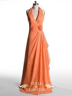 Gorgeous coral halter v-neck long #bridesmaid dress. Get inspired at diyweddingsmag.com #diyweddings