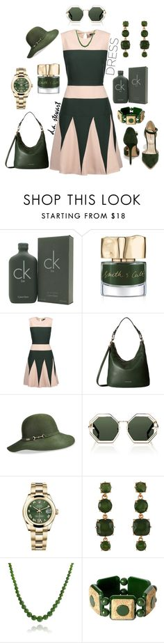 """""""🍾GO GREEN🍾"""" by dastewart ❤ liked on Polyvore featuring Calvin Klein, Smith & Cult, Raoul, MICHAEL Michael Kors, Betmar, Karen Walker, Rolex, Les Néréides and Bling Jewelry"""