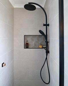 Shower Niche/Shelf Shower Storage Shower In Wall Shelving Black Tapware Concrete Concrete Bathroom Bathroom Niche, Concrete Bathroom, Shower Niche, Attic Bathroom, Upstairs Bathrooms, Bathroom Renos, Bathroom Renovations, Small Bathroom, Bathroom Ideas