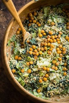 Vegan Caesar Salad with Chickpeas | 31 Delicious Things To Cook In December #vegetarian #recipes #food #recipe #healthy