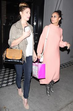 Girls night out: Cara Santana joined BFF Ashley Greene for a belated birthday celebration on Monday and the two actresses were seen giggling as they left trendy Craig's in Hollywood