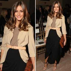 Olivia Palermo - Khaki Blazer-Long Skirt