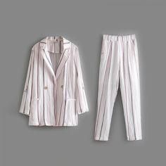 Striped Cotton Linen Women Suit   Price: 26.95 & FREE Shipping  #fashion#fashionblogger#womenswear#clothingbrand#womenfashion #menfashion#fashiongirl Suits For Women, Cotton Linen, Duster Coat, Jackets, Free, Fashion, Cotton Sheets, Down Jackets, Moda