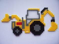 Digger / hama perler beads / Bügelperlen by cindeecc Hama Beads Design, Diy Perler Beads, Perler Bead Art, Pearler Beads, Fuse Beads, Melty Bead Patterns, Pearler Bead Patterns, Perler Patterns, Beading Patterns
