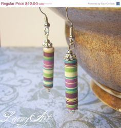 ON SALE Striped colorful Earrings - Paper Bead Earrings - Handrolled -  handpainted a91c3e8304