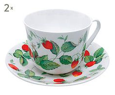 2 Tasses à  thé ALPINE STRAWBERRY porcelaine, multicolore - 450 ml