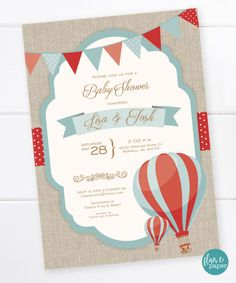 Hot Air Balloon Baby Shower Invitations Elegant Hot Air Balloon Invitation Baby Shower Birthday by Baby Shower Backdrop, Baby Shower Balloons, Birthday Balloons, Baby Shower Decorations, Balloon Invitation, Invitation Cards, Baby Shower Themes Neutral, Baby Shower Vintage, Baby Shower Invitations For Boys