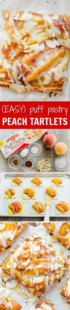 Peach tartlets with juicy peaches, toasted almonds & vanilla glaze ...