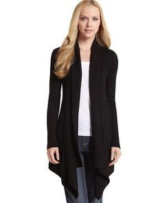 WHBM - Feel beautiful.    I have this sweater in both black and white.  I have worn this to death.  Very slimming.  Dress it up or dress it down