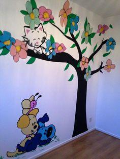 woezel en pip muurschildering voor kinderkamer