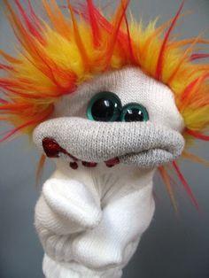 Zombie sock puppet!  I love this crazy looking guy. He looks like he is tweakin'