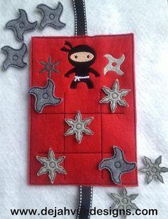 Ninja Tic Tac Toe ITH Embroidery Design