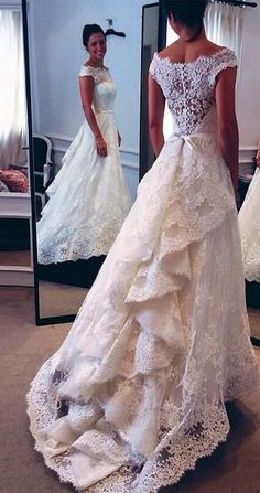 2016 Vintage Lace Wedding Dresses Audrey Hepburn Style Off the Shoulder Layers Skirt A-line Bridal Gowns