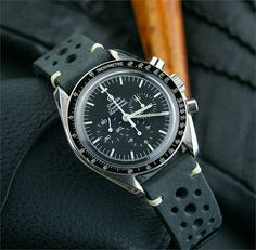 20mm Black Vintage Racing Watch Strap Band on a Vintage Omega Speedmaster in Italian Leather with ecru minimal stitching