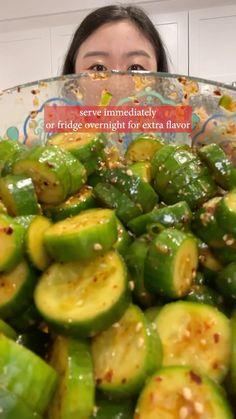 buzzfeedtasty • Alkuperäinen ääni Cucumber Recipes, Salad Recipes, Veggie Dishes, Vegetable Recipes, Korean Cucumber Salad, Beach Meals, Cooking Recipes, Healthy Recipes, Asian Cooking
