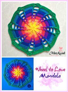 Crochet rainbow mandala which look like a delightful ferris wheel. Crochet Mandala Pattern, Crochet Circles, Crochet Blocks, Crochet Squares, Crochet Granny, Crochet Stitches, Granny Squares, Knit Crochet, All Free Crochet