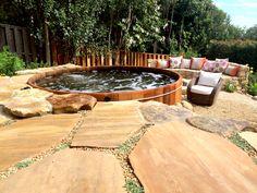 Beautiful cedar hot tub in a Santa Barbara backyard. www.gordonandgrant.com